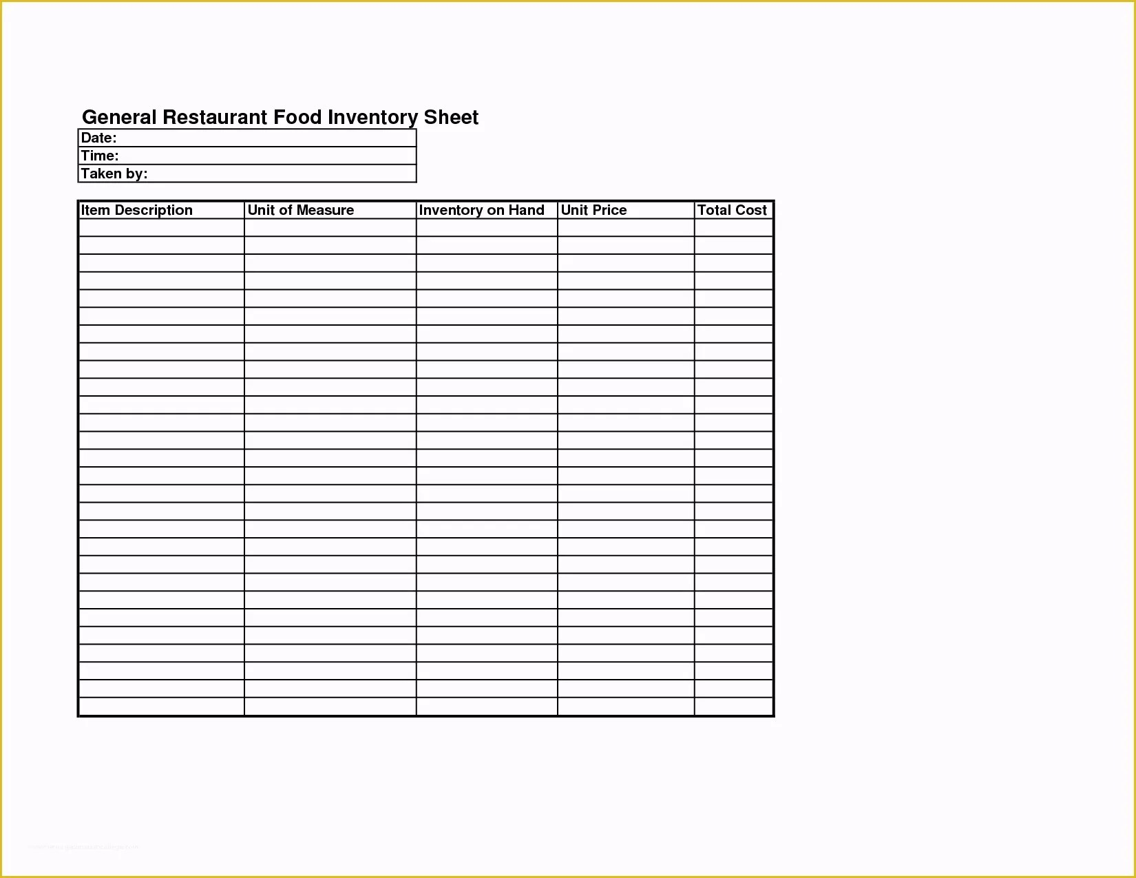Free Restaurant Inventory Templates Of Inventory Count