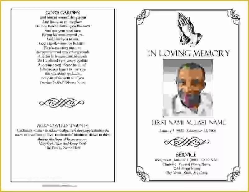 Funeral order Of Service Template Free Of 8 Free Funeral