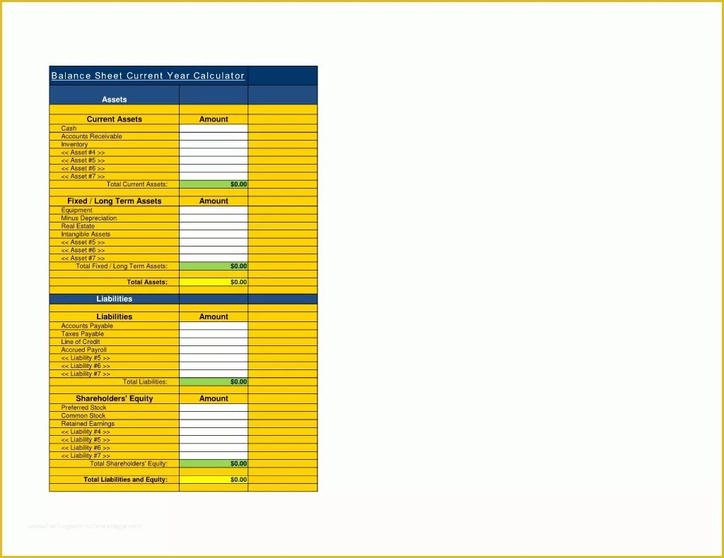 Assets And Liabilities Template Free Download Of Free