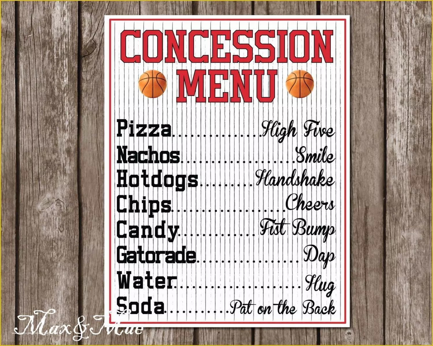 50 Concession Stand Menu Template Free