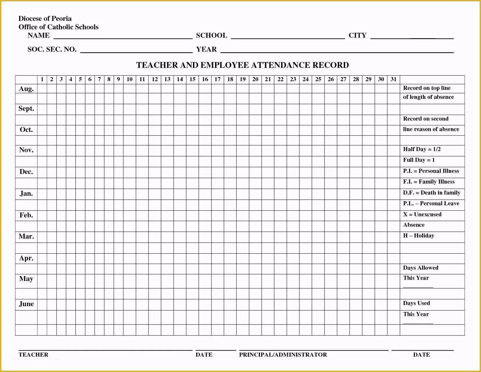 Employee attendance Tracker Template Free Of Employee