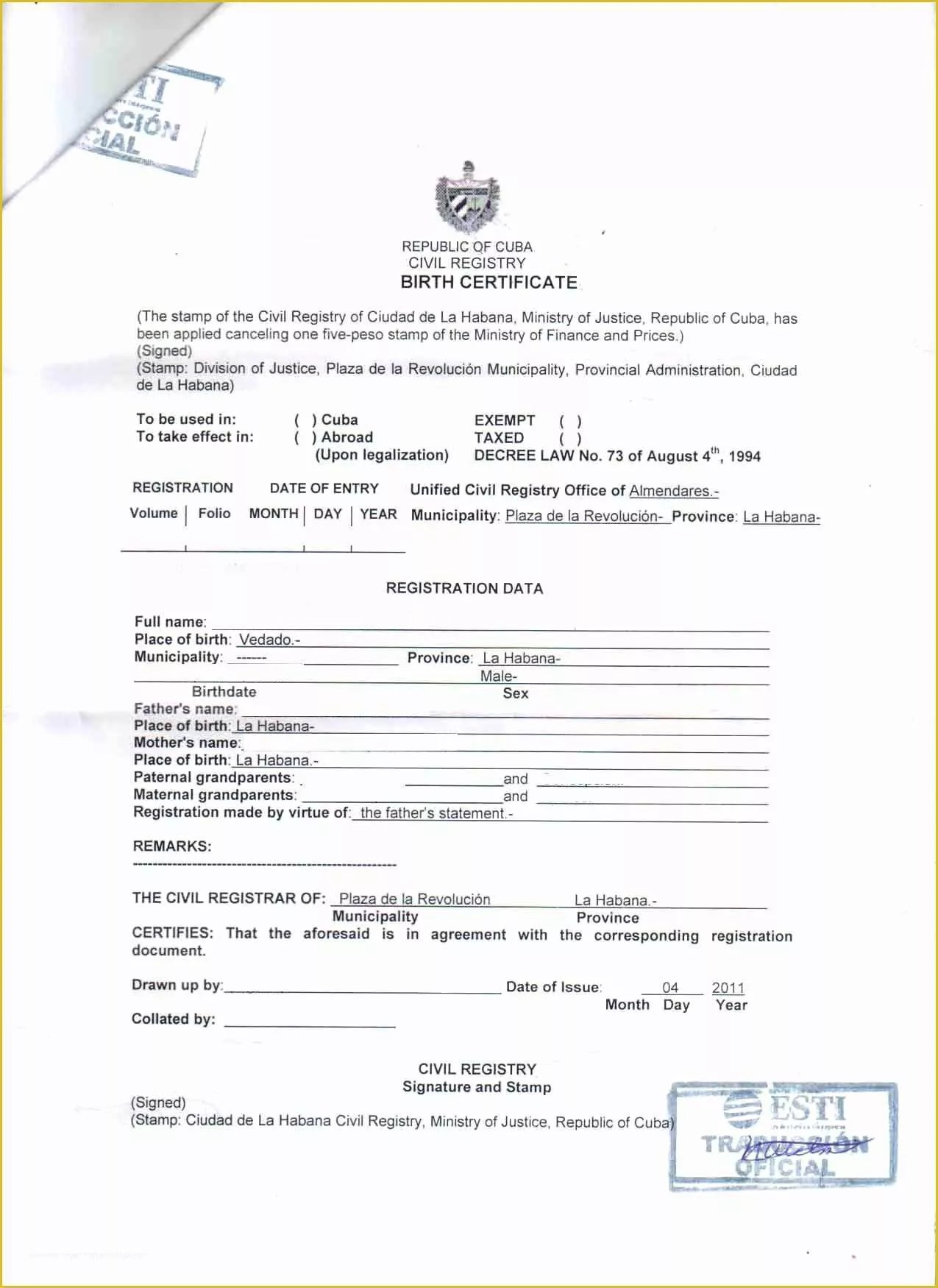 Free Certificate Translation Template Of Birth