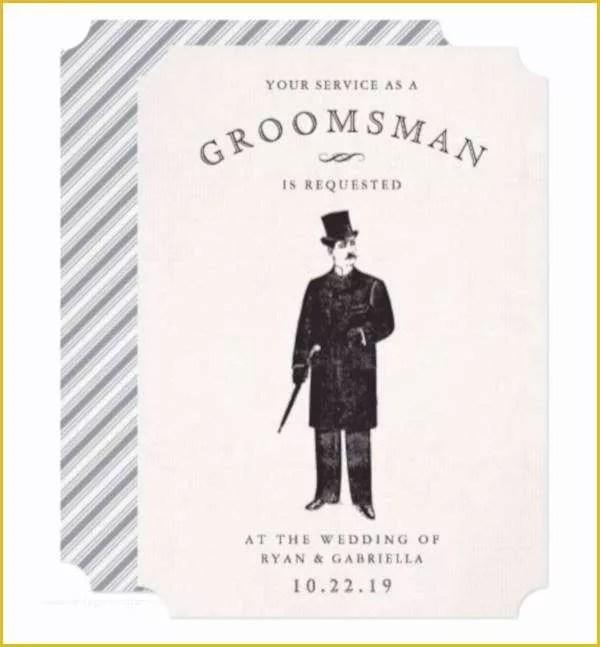 Free Groomsman Card Template Of Elegant Bride and Groom