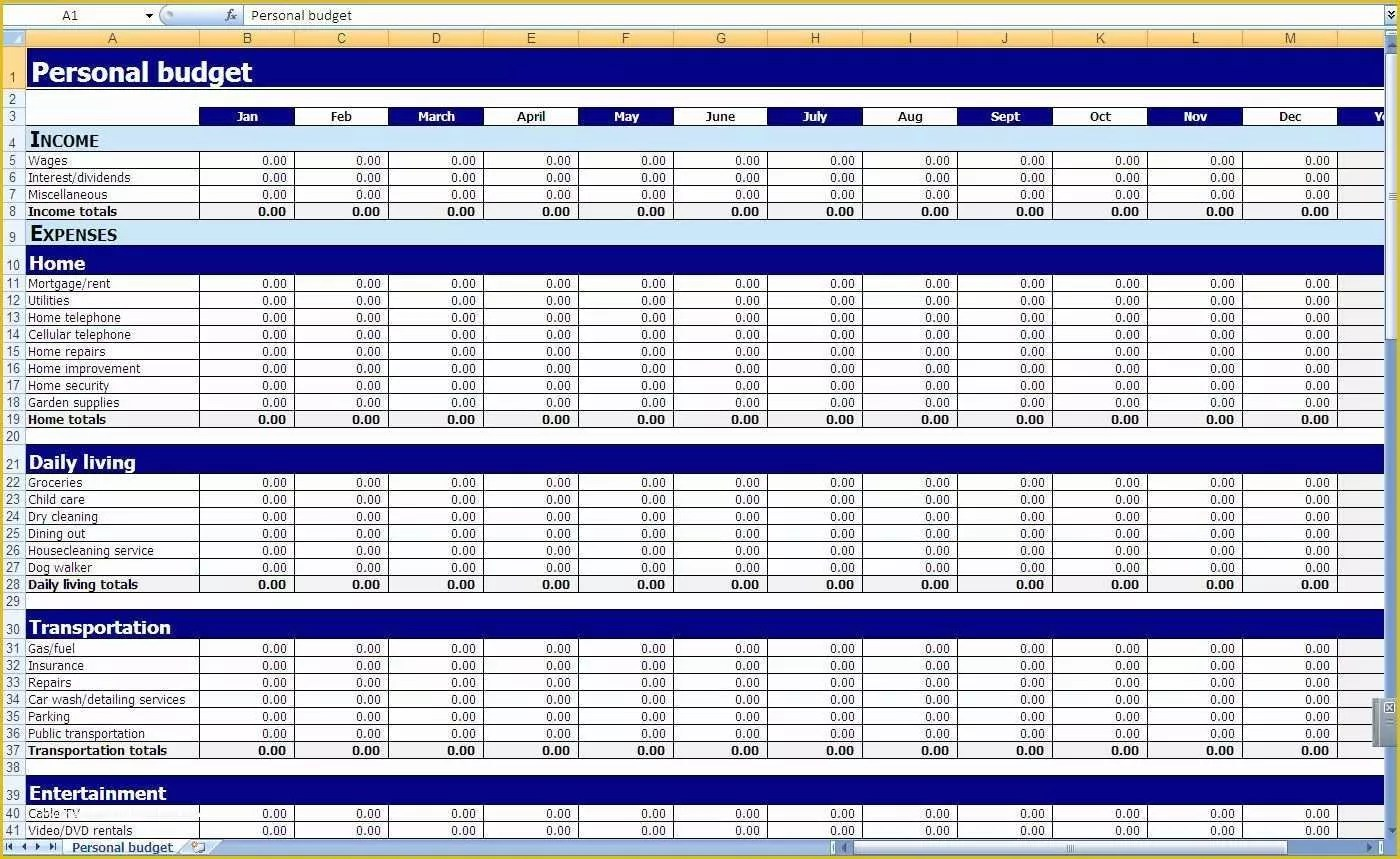Free Personal Budget Template Download Of Free Printable