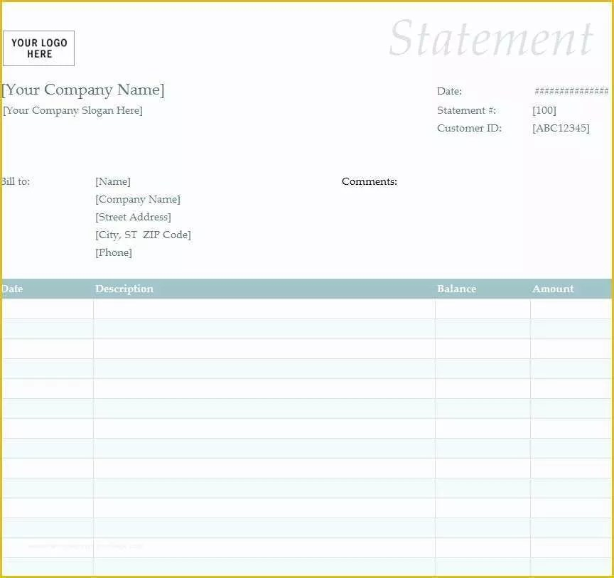 Statement Of Invoices Template Free Of Free Billing