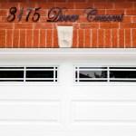 Garage door and lettering