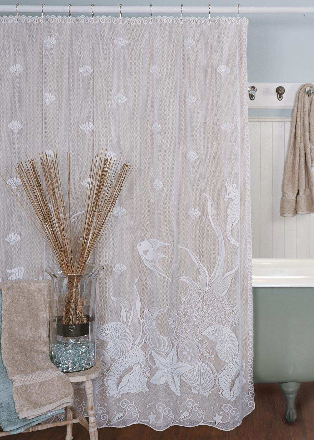 Seascape Shower Curtain  Heritage Lace