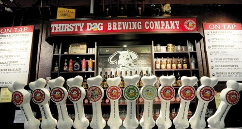 Taps at Thirsty Dog Brewing Co - Best Breweries in Ohio