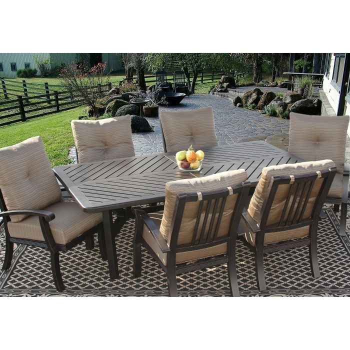 barbados cushion outdoor patio 7pc dining set for 6 person with 44x86 rectangle table series 4000 antique bronze finish