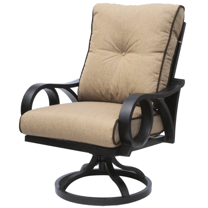 channel cast aluminum outdoor patio swivel rocker chair with sunbrella sesame linen cushion antique bronze