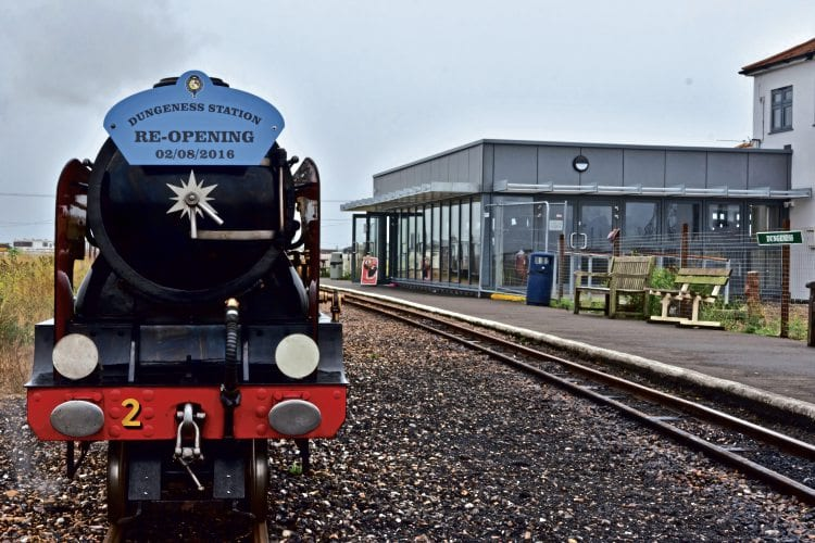 The reopening special hauled by No. 2 Northern Chief opposite the upgraded Dungeness station. RHDR