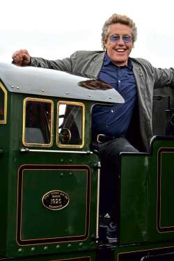 Roger Daltrey in the cab of Davey, Paxman Pacific No. 2 Northern Chief, which hauled the special train to Dungeness. The Who's 1971 hit 5.15 was about a tain journey from London to Brighton. RHDR