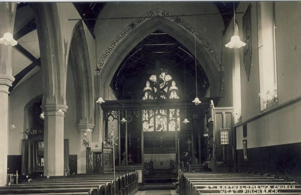 Interior of West Pinchbeck Church pre-1940