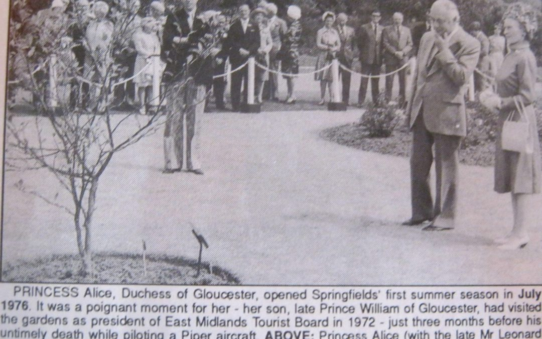 Princess Alice, the Duchess of Gloucester, opening springfields first summer season July 1976