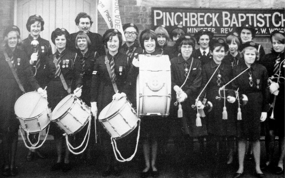 Pinchbeck Girl Brigade, band dedication day outside the Pinchbeck Methodist Church. Dated 1965