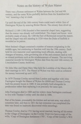 Notes on History of Wykes Manor; CBF L 005