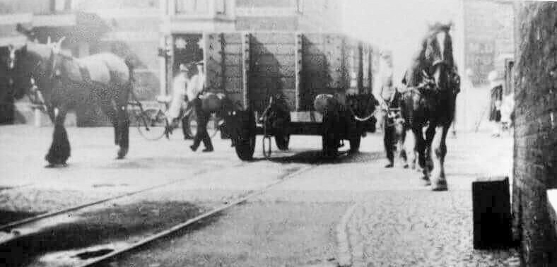 Spalding Station and Horse drawn truck being pulled over Winsover Rd