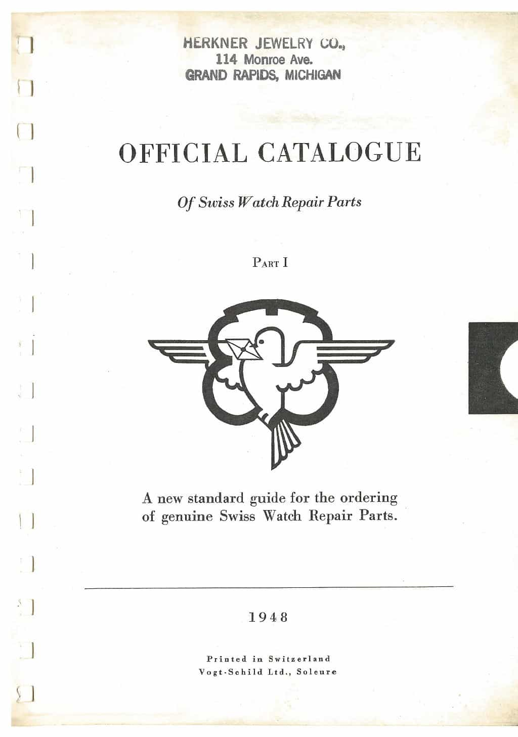 1948 Official Catalogue of Swiss Watch Repair Parts