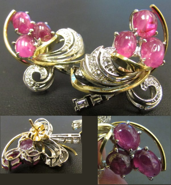 18kt Ruby White Gold and Yellow Gold earrings
