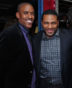 Bobby Brown and Jerome Bettis at an Excessive Celebration event at the House of Blues, Chicago.