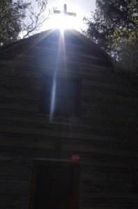 Sunlight over the Badin Log Cabin photo, courtesy of Kathleen Souder.