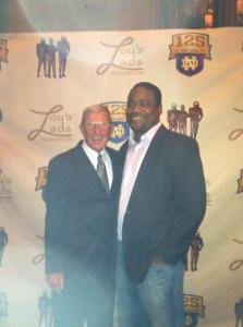 Randy Kinder and Coach Holtz at a Lou's Lads event in Chicago.