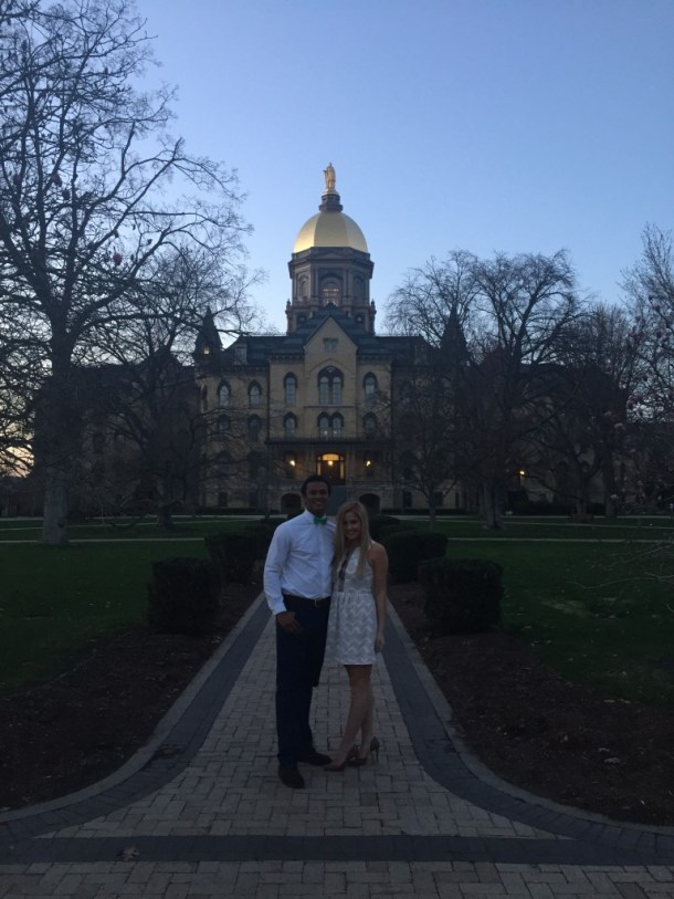 Elli and DeShone share a moment in front of the Golden Dome. Photo Credit: Elli Thatcher