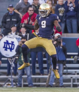 Notre Dame's Jaylon Smith (9) celebrates a big stop in the Wake Forest red zone during the Notre Dame-Wake Forest NCAA college football game on Saturday, Nov. 14, 2015, at Notre Dame Stadium in South Bend. SBT Photo/ROBERT FRANKLIN