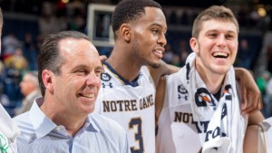 Dec 13, 2015; South Bend, IN, USA; Notre Dame Fighting Irish head coach Mike Brey smiles after Notre Dame defeated the Loyola Ramblers 81-61 at the Purcell Pavilion.  Mandatory Credit: Matt Cashore-USA TODAY Sports