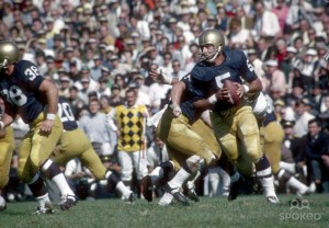 Notre Dame Irish quarterback # 5 Terry Hanratty in action during the 1968 season. (USA Today Sports Images)