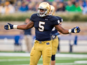 Aug 30, 2014; South Bend, IN, USA; Notre Dame Fighting Irish linebacker Nyles Morgan (5) waits between plays against the Rice Owls at Notre Dame Stadium. Notre Dame won 48-17. Mandatory Credit: Matt Cashore-USA TODAY Sports ** Usable by BS, CT, DP, FL, HC, MC, OS, HOY, CGT and CCT **