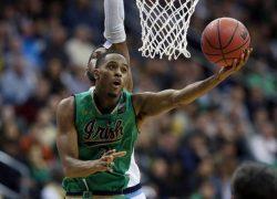 Notre Dame's V.J. Beachem (3) takes a shot during the first half of an NCAA college basketball game against Villanova Dec. 10, 2016, in Newark, N.J. (AP Photo/Mel Evans)