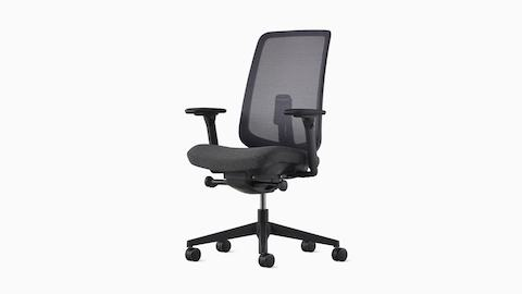 ergonomic chair settings office yakima wa adjustments herman miller a verus desk with black frame and mesh back light gray upholstered seat