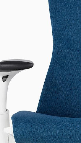 office chair kenya jazzy battery herman miller modern furniture for the and home close up of back arm a blue embody select