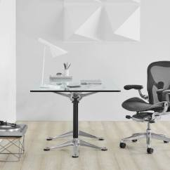 Office Chair Herman Miller Aeron The First Years High Chairs Black Ergonomic Desk With Polished Aluminum Base At A Burdick Group Glass Top