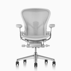 Desk Chair Herman Miller Hanging Makro Aeron Office Chairs Light Gray Viewed From The Front