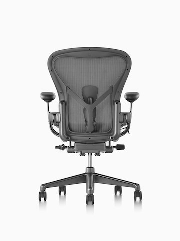 white aeron chair holiday back covers office chairs herman miller black with aluminum base viewed from the