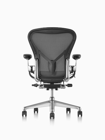 office chair herman miller aeron papasan rocking chairs black with base viewed from the back