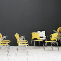 Herman Miller Stacking Chairs Red Chair And Ottoman Caper Yellow Green White In A Training Environment