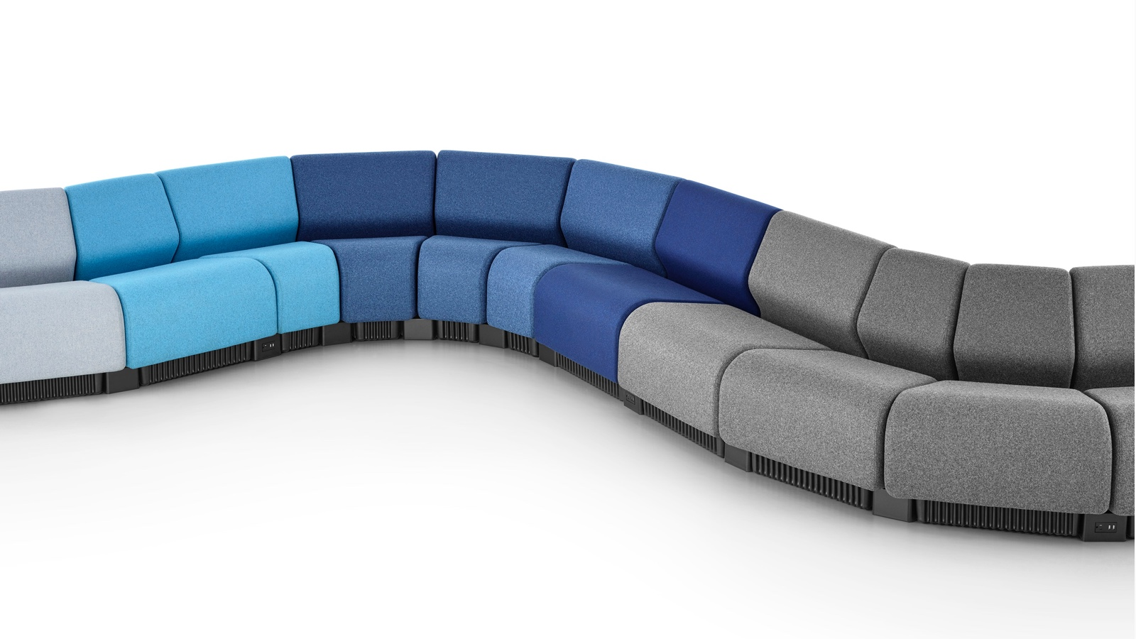 chadwick sofa cloth and leather sofas modular seating lounge herman miller a serpentine configuration formed with modules in shades of gray blue