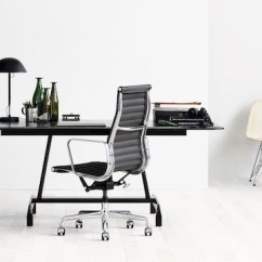 Eames Aluminum Chair Bb Covers Chicago Group Office Chairs Herman Miller Small With A Black Agl Table And White