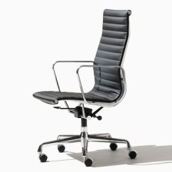 Eames Aluminum Chair Grey Recliner Group Office Chairs Herman Miller Black High Back Executive Viewed From The Side