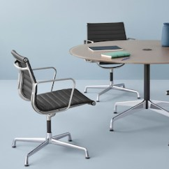 Eames Aluminum Chair Elastic Office Covers Group Chairs Herman Miller Three Black Mid Back Surround A Round Table