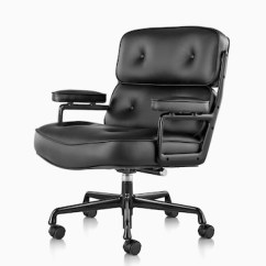 Unique Leather Office Chairs Commercial Patio Eames Executive Herman Miller Black Chair Viewed From A 45 Degree Angle
