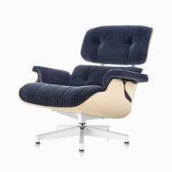 Charles Eames Lounge Chair Home Gym And Ottoman Herman Miller An With Blue Mohair Upholstery A White Ash Veneer Shell Viewed
