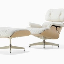 Eames Arm Chair Desk Chairs Ikea Lounge And Ottoman Herman Miller White Leather With A Ash Veneer Shell Viewed From