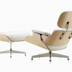 Charles Eames Lounge Chair Bedroom Dimensions And Ottoman Herman Miller Three Quarter Rear View Of A White Leather With