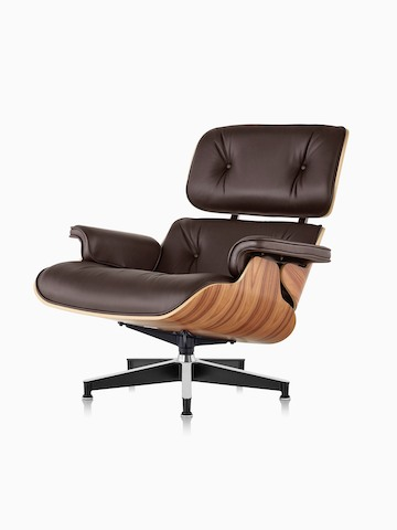 wood and leather chair top gaming chairs eames lounge ottoman herman miller brown with a veneer shell viewed from 45 degree