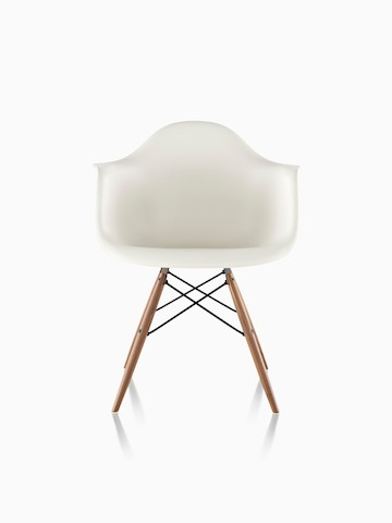 eames chair herman miller beach chairs with umbrellas molded plastic side white armchair dowel legs viewed from the front