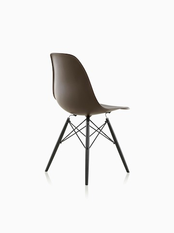 eames bucket chair shower tub transfer bench molded plastic side herman miller three quarter rear view of a black with dowel legs